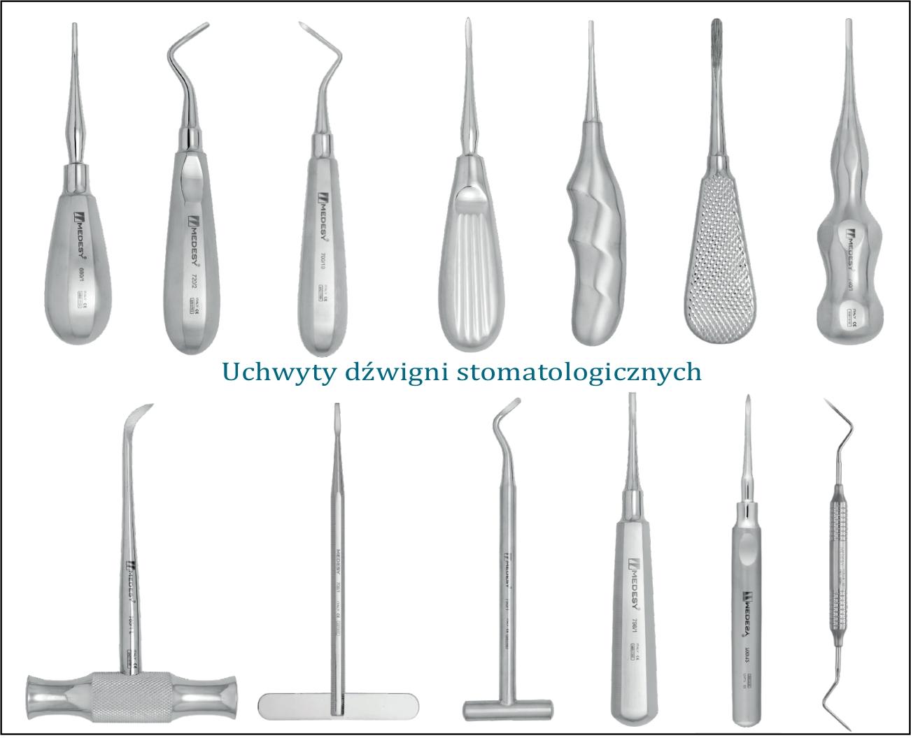 Dźwignia stomatologiczna - uchwyty